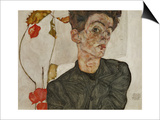 Self-Portrait with Chinese Lantern and Fruits Poster by Egon Schiele