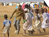 Sudanese Displaced Children Play Soccer at Abu Shouk Camp Prints
