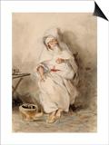 Arabe assis près d'un brasero ou Portrait d'Amin-Bias ministre  Finances et  Affaires Etrangères Art by Eugene Delacroix