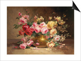 Rich Still Life of Pink and Yellow Roses Prints by Alfred Godchaux