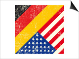 Usa And German Grunge Flag. This Flag Represents The Relationship Between Germany And The Usa Prints by  TINTIN75