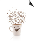 Coffee-Cup With Brown Hand Drawn Happy Smiley Faces, Isolated On White Prints by  ra2studio