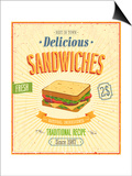Vintage Sandwiches Poster Posters by  avean