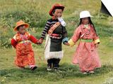 Young Tibetan Children Walk Hand in Hand Near Qinghai Lake Print
