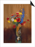 Bouquet of Wild Flowers in a Vase with Long Neck, 1912, Gouache Poster by Odilon Redon
