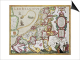 Leo Belgicus: Belgium And Netherlands Old Map In The Form Of A Lion Prints by  marzolino