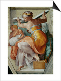 The Sistine Chapel; Ceiling Frescos after Restoration, the Libyan Sibyl Art by  Michelangelo Buonarroti