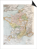 Medieval France Old Map (10th - 14th Century) Poster by  marzolino
