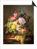 Still Life of Roses, Lilies and Strawberries Prints by Francois Duval