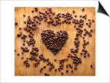 Heart Shape From Brown Coffee Beans, Close-Up On Old Vintage Wooden Background Prints by  ouh_desire