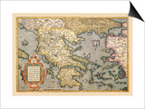 Map of Greece Poster by Abraham Ortelius
