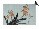 Orchidées orange Poster by Katsushika Hokusai