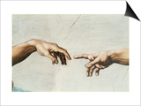 The Creation of Adam, Detail of God's and Adam's Hands, from the Sistine Ceiling Prints by  Michelangelo Buonarroti