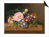 Bouquet of Pink Camellias and Primula on Marble Ledge Prints by Johan Laurentz Jensen