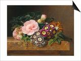 Bouquet of Pink Camellias and Primula on Marble Ledge Prints by Johan Laurentz Jensen