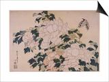Pivoines et papillons Prints by Katsushika Hokusai