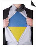 Business Man With Ukrainian Flag T-Shirt Posters by  IJdema