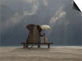 Mike_Kiev - Elephant And Dog Sit Under The Rain Umění