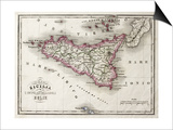 An Old Map Of Sicily And Little Islands Around It Print by  marzolino