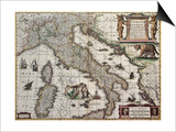 Italy Old Map. Created By Henricus Hondius, Published In Amsterdam, 1631 Posters by  marzolino