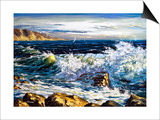 Storm Waves On Seacoast Art by  balaikin2009