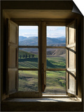 Outside View of Cypress Trees and Green Hills Through a Shabby Windows Prints by  ollirg