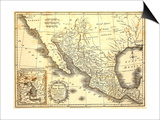 Map Of Mexico Dated 1821 Posters by  Tektite