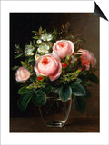 Roses and Tree Anemone in a Glass Vase Posters by Johan Laurentz Jensen