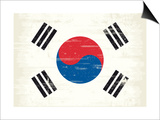 South Korea Grunge Flag. A Flag South Korea With A Texture Poster by  TINTIN75