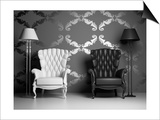 White And Black Armchairs Prints by  viczast