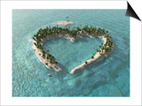 Aerial View Of Heart-Shaped Tropical Island Print by  Mike_Kiev