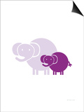 Purple Baby Elephant Prints by  Avalisa