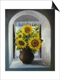 Sunflowers On The Window Print by  kirilstanchev