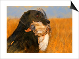 Oil Painting Portrait Of Black Labrador With Duck Prints by  Yarvet