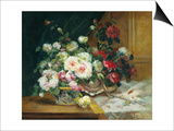 Bowl of Roses Posters by Eugene Henri Cauchois