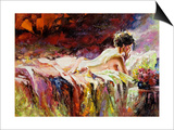 The Naked Girl Laying On A Bed Prints by  balaikin2009
