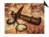Vintage Magnifying Glass, Compass, Goose Quill Pen And Spyglass Lying On An Old Map Posters by Andrey Armyagov