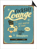 Vintage Metal Sign - Cocktail Lounge - Jpg Version Prints by Real Callahan