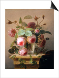 Still Life of Pink Roses in a Glass Vase Posters by Hans Hermann
