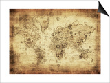 Ancient Map Of The World Print by  javarman