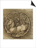 Ornament with a Deer Lying in a Circle of Oak Branch Posters by Albrecht Dürer
