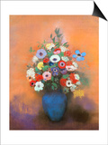 Anemones and Lilacs in a Blue Vase, after 1912 Prints by Odilon Redon