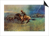 The Stampede Poster by Frederic Sackrider Remington