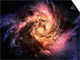 Spiral Galaxy In A Dark Space, Abstract Background Art by  molodec