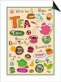 Set Of Tea Design Elements And Inscriptions Prints by Anastasiya Zalevska