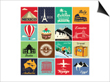 Set Of Vintage Retro Vacation And Travel Label Cards And Symbols Kunst van  Catherinecml