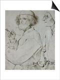 Painter and Patron (With Brueghel's Self-Portrait), Drawing Prints by Pieter Bruegel the Elder