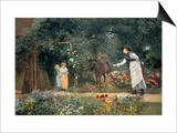 Feeding a Pony in a Surrey Garden Prints by Edward Killingworth Johnson