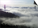 Fog Shrouds the Golden Gate Bridge and the Marin Headlands Near Sausalito Prints