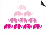 Pink Counting Elephants Poster by  Avalisa